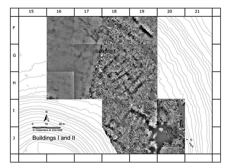 The outlines of the buildings I and II identified by prospecting geoelectric